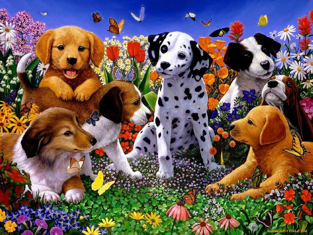 Открытка семья собака разговоре показана